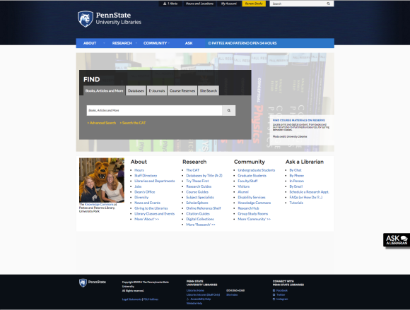 screen capture of new Libraries homepage design