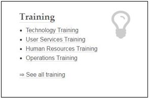 screen capture of Libraries intranet staff site's Training section
