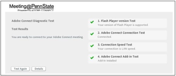 screen capture from Meeting@PennState verifying connection settings on Adobe Connect