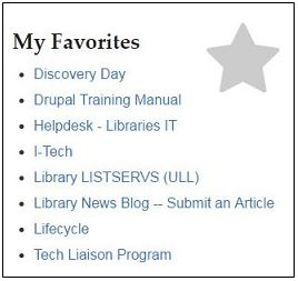 """partial screen capture of Libraries intranet showing """"My Favorites"""" section"""