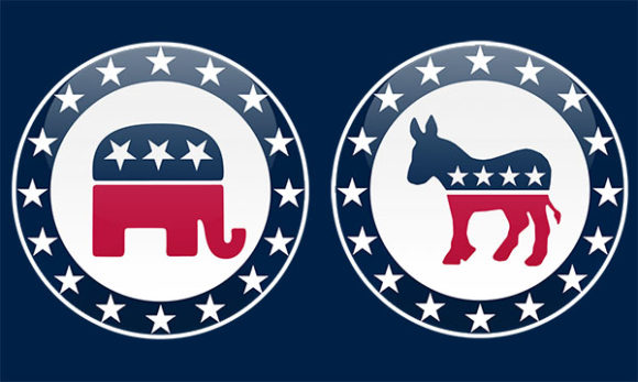 image of Republican and Democratic party symbols of an elephant and donkey