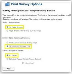 screen shot of options for printing survey