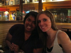 My freshman year roommate, Lauren and I at my birthday dinner at Applebee's.