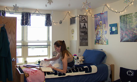 An example of a student's room in North Halls