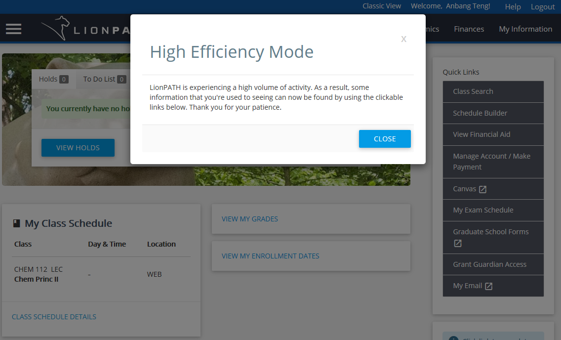 LionPATH high efficiency mode for student interface