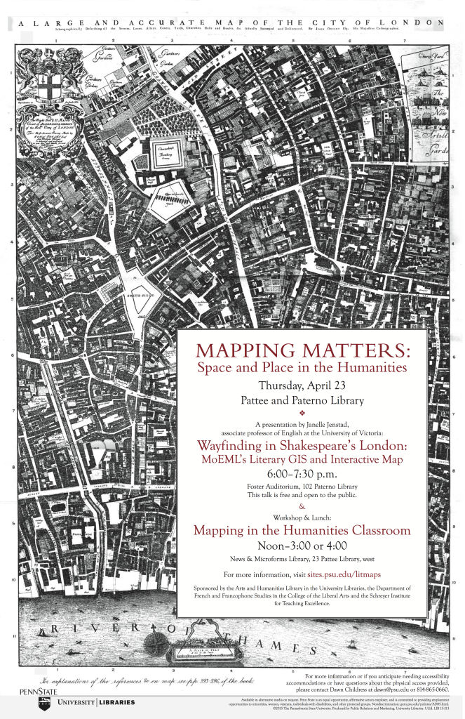 """Event poster with historic black and white map of London with the title """"Mapping Matters: Space and Place in the Humanities,"""" plus event details."""