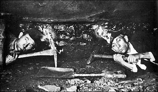 This picture shows just how little headroom miners had underground.