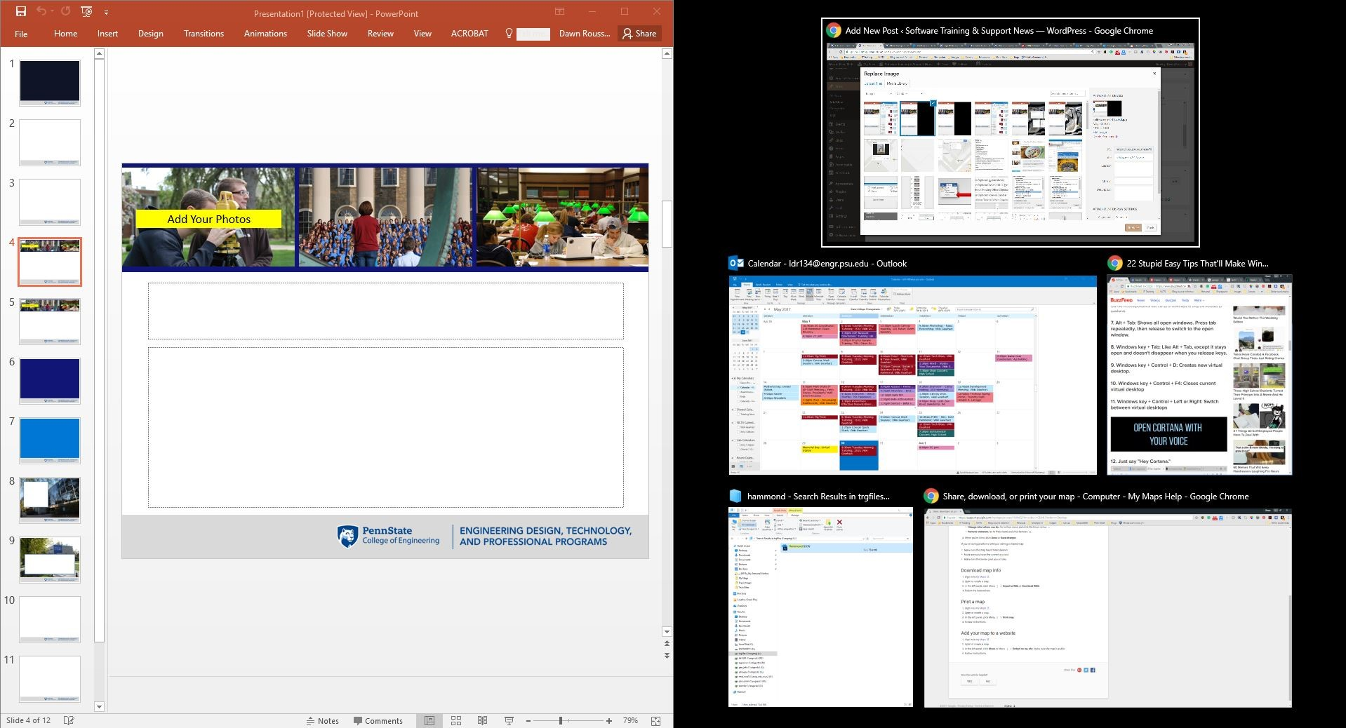 thumbnails of other windows available for split-screen