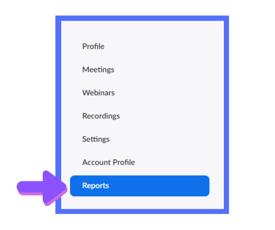 location of Reports button in Zoom