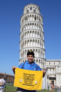 Yours truly proudly displaying a terrible towel in front of the Leaning Tower of Pisa.