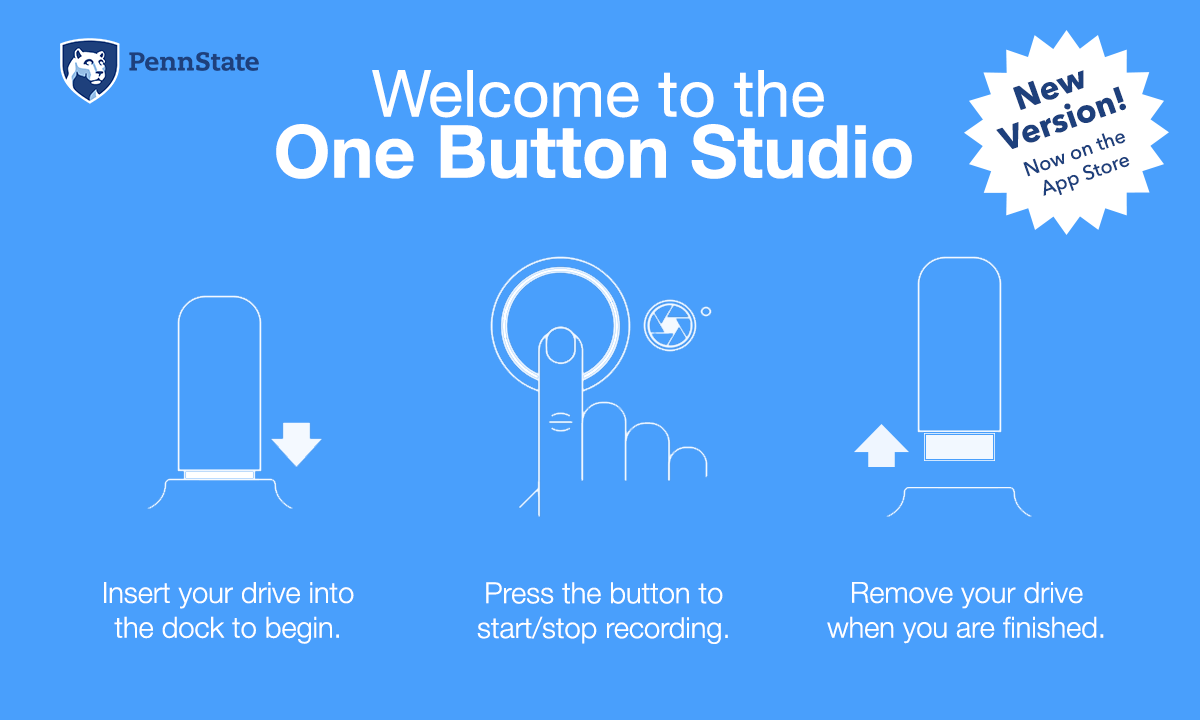 Welcome to the One Button Studio image with operation instructions