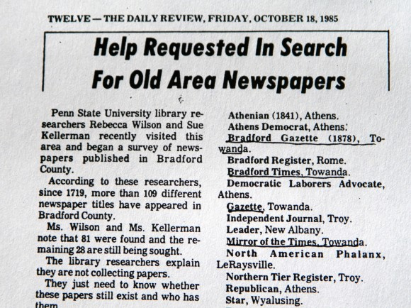 "The Daily Review published the Bradford County ""Needs"" list in its October 18, 1985 issue."