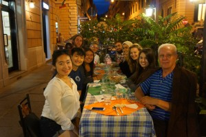 Cici and the rest of the Reggio program enjoying their last dinner in Italy.