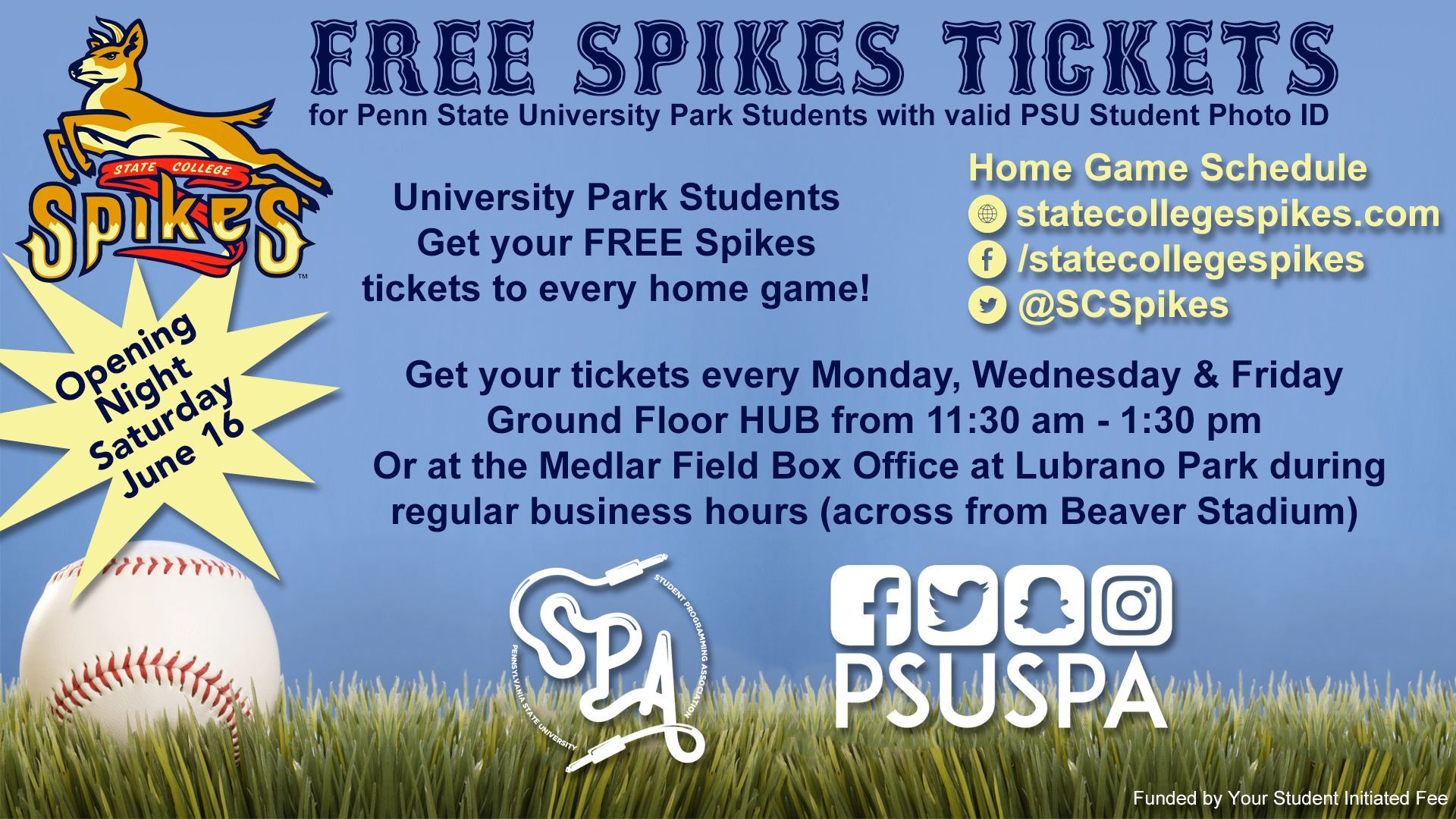Free Spikes tickets for Penn State students with PSU Photo ID