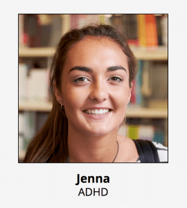 Persona of Jenna our student with ADHD