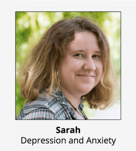 Persona of Sarah our student with anxiety and depression