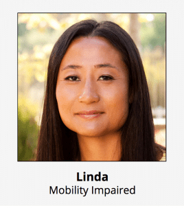 Persona of Linda our student with a mobility impairment
