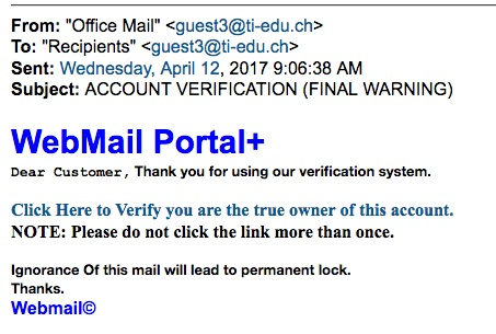 Phishing message from 9:06 a.m. on April 12, 2017