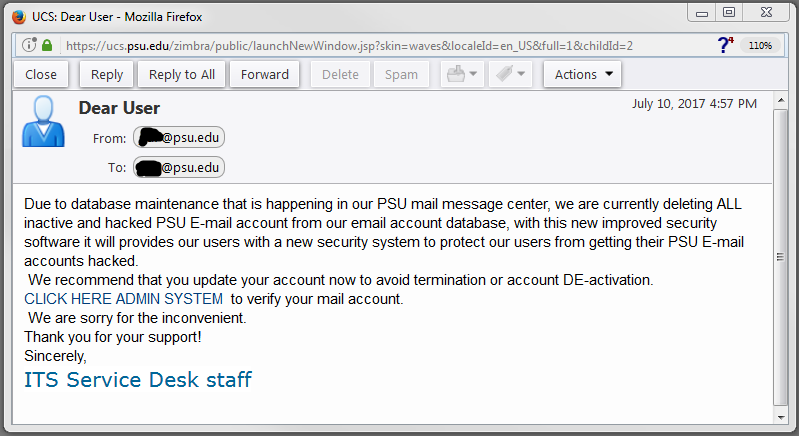 Phishing message from July 10 & 11, 2017
