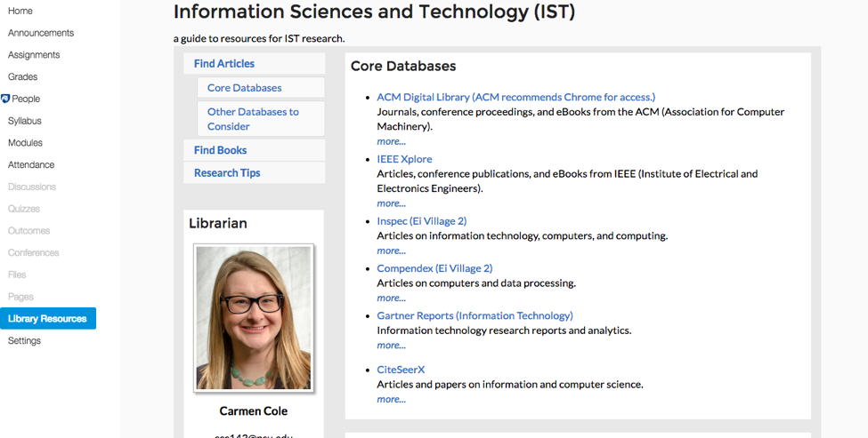 image showing list of Core Databases for IST research in an Information Sciences and Technology course