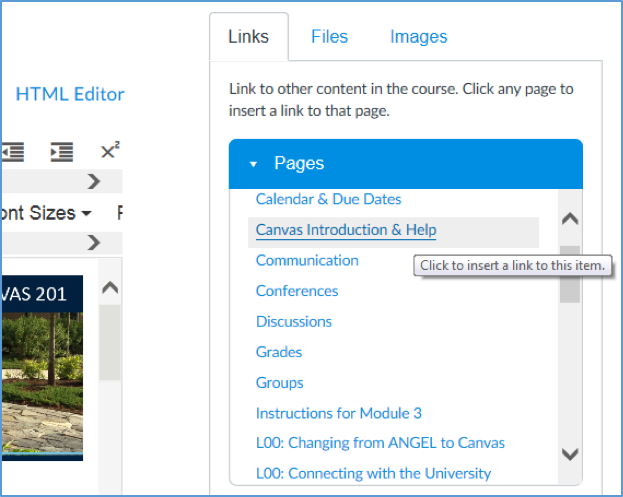 screenshot showing a page name selected