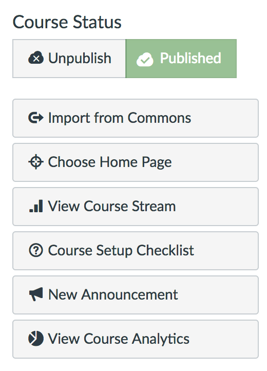screenshot showing where to find course analytics option under course status