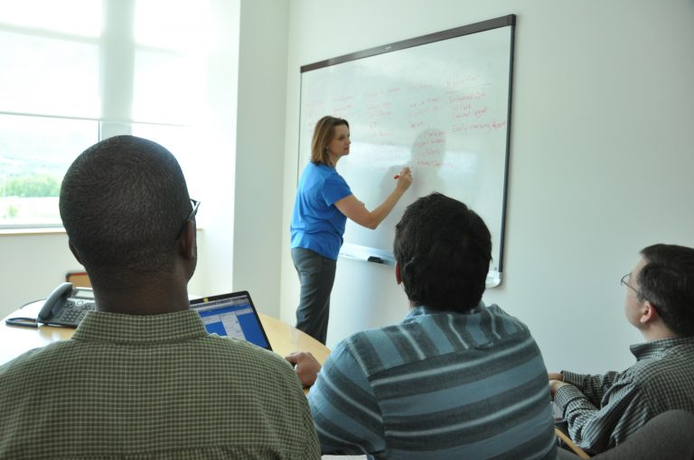 Image of a woman working at a whiteboard on team projects with other developers watching