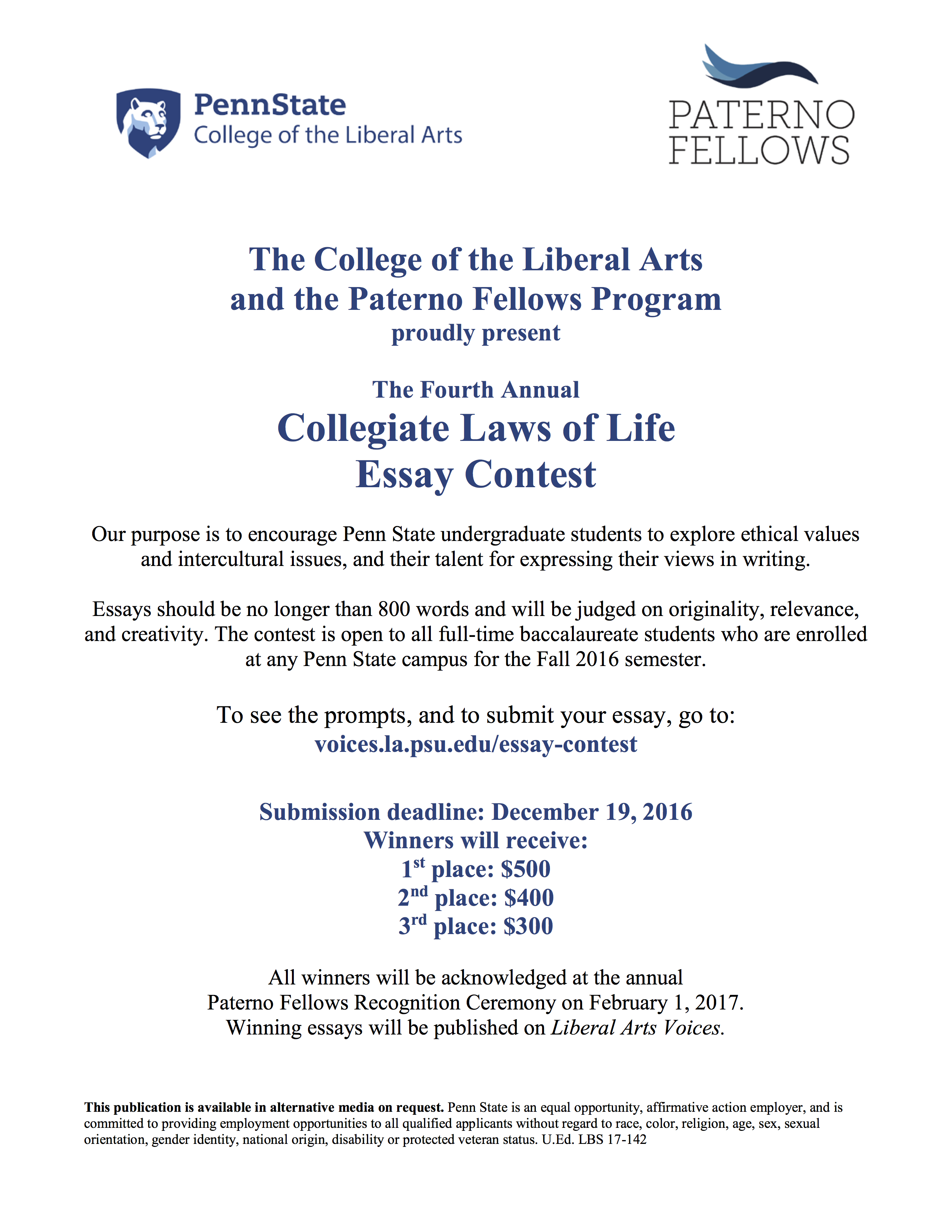 paterno fellows collegiate laws of life essay contest collegiate laws of life essay contest