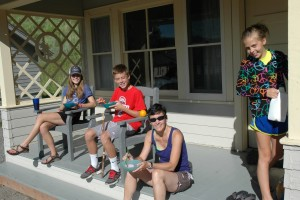 Eating breakfast before a big day of exploring Yellowstone at our cottage, July 2013
