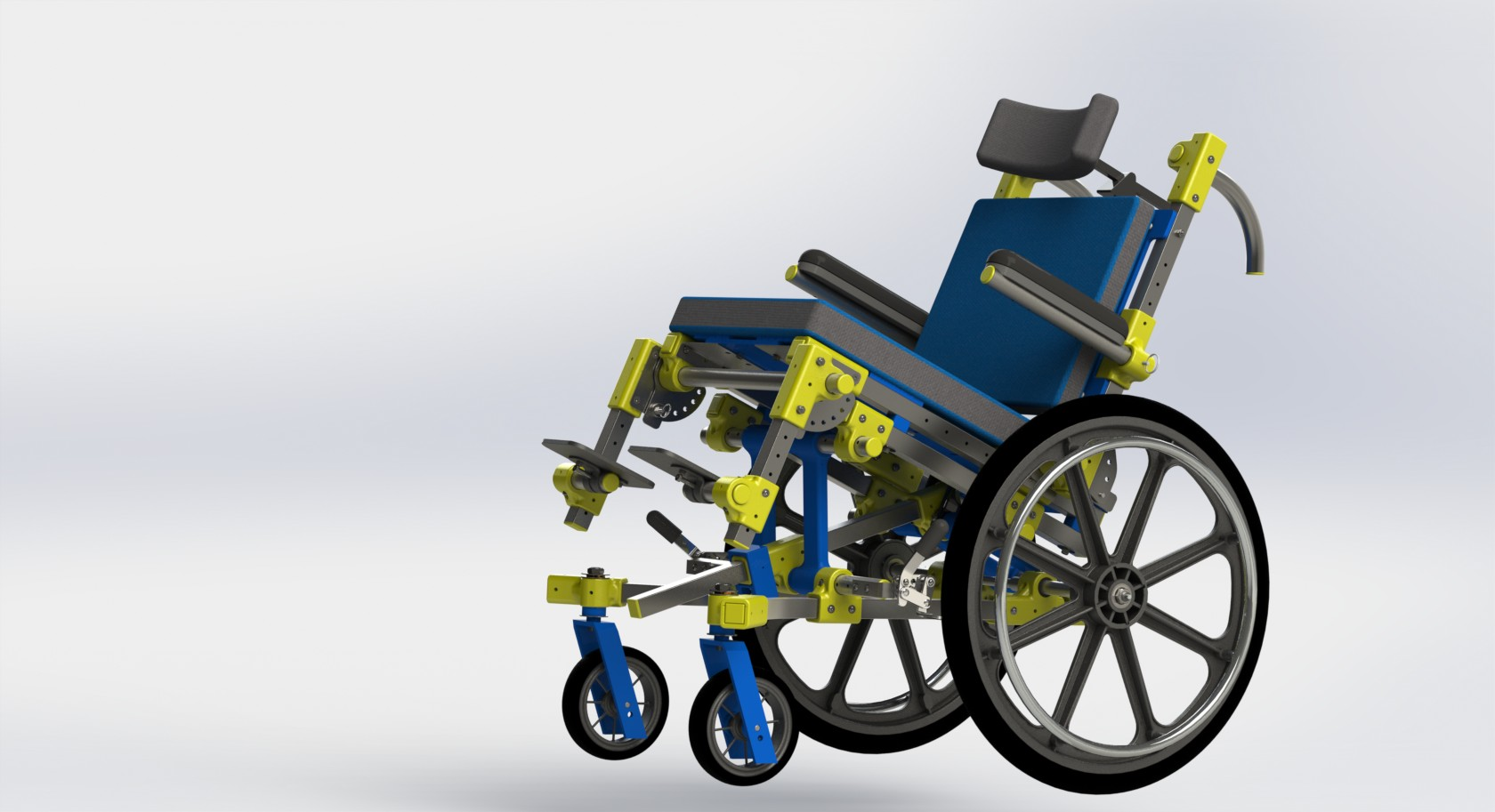 The PALM pediatric wheelchair with the seat frame tilted back.