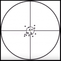 Photo of a field test, consisting of a balck and white targets with multiple dots indicating focus on the center, for the Ocula Track
