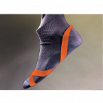 Photo of black sock with orange markings for hook areas