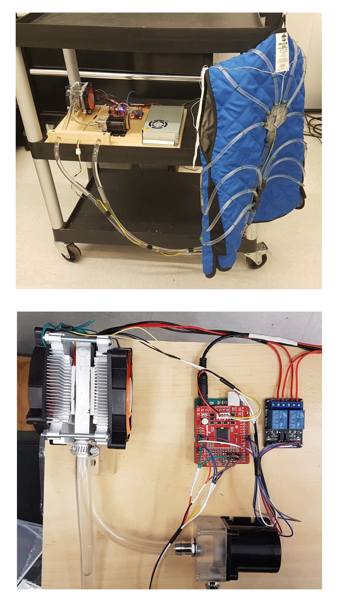 (Top) The completed prototype with the vest turned inside out; (bottom) close-up of the cooling and control board showing (clockwise, starting from upper left) Peltier cooler, Arduino controller, relays and pump