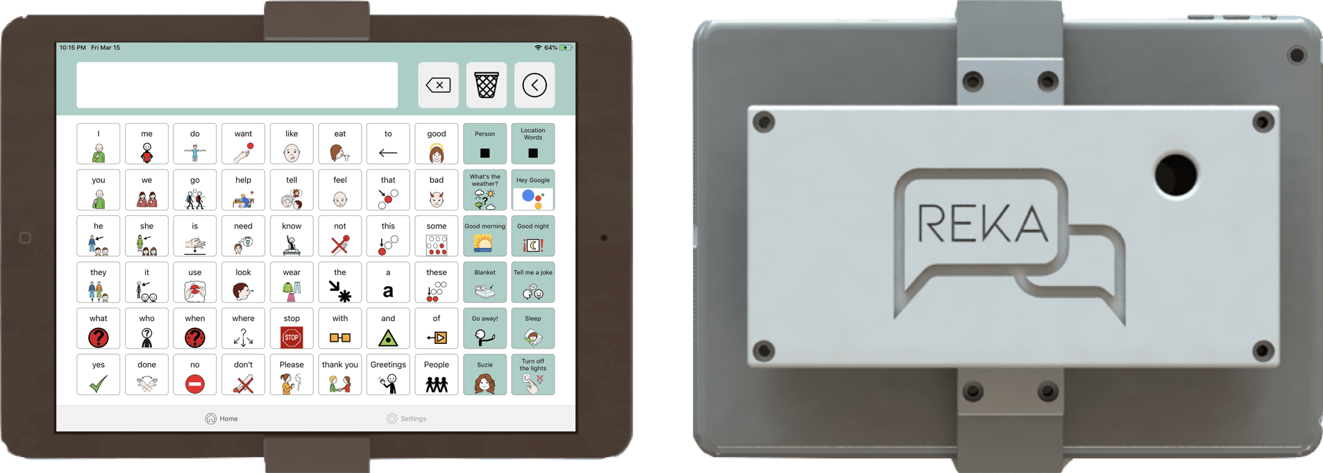 Reka provides contextual based vocabulary suggestions to the user based on information collected using sensors located in the hardware module, which can be mounted to the back of the user's tablet.