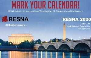 RESNA 2020 will be held in Washington , DC