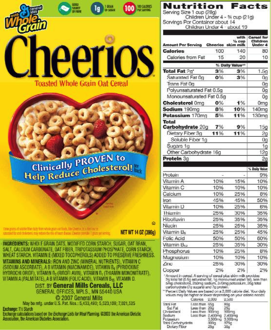 Cereal ingredients label
