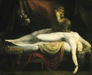 "John Henry Fuesli's ""The Nightmare"", a classic painting portraying an older understanding of Sleep Paralysis as possession."