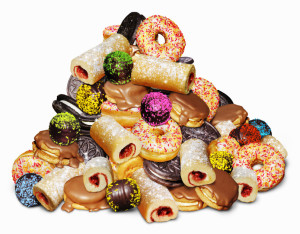 Pile of unhealthy sugary cakes