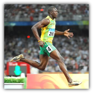 Usain Bolt with high calf insertions.