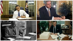 (clockwise from top left) Barack Obama, Bill Clinton, George H.W. Bush, and Gerald Ford all sign legislation using their left hands
