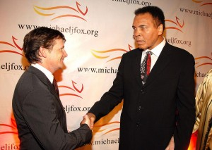 Michael J. Fox and Muhammad Ali (Photo by KMazur/WireImage)