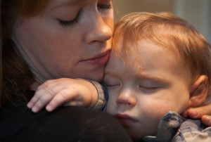 Emily Rapp with her son, who had Tay Sachs. Posted in her 2011 Essay.