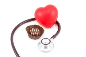 Dark chocolate candy with heart and stethoscope (6297)