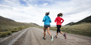 Two women running for exercise