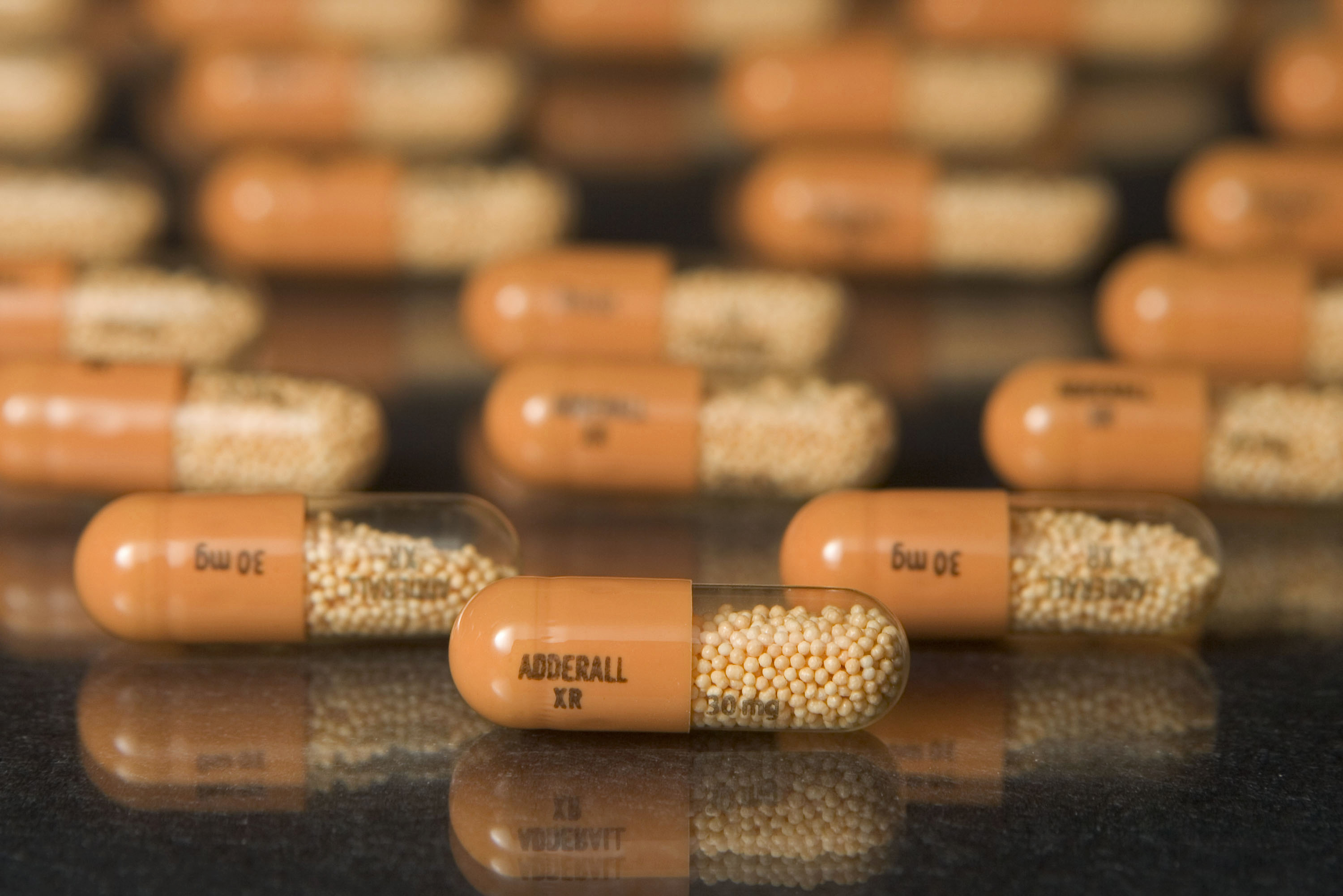 30mg Tablets Of Shire Plc's Adderall Xr Are Arranged In A Cambridge,  Massachusetts Pharmacy On
