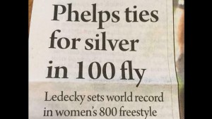 This past summer Olympic swimmer Katie Ledecky set a world record. However she was overshadowed by her male counterpart, Michael Phelps.
