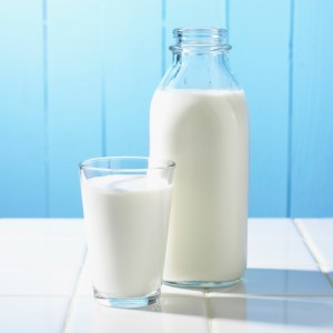 Traditional milk bottle with a glass full