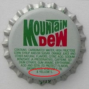 Cap of Mountain Dew, showing ingredient Yellow Dye No. 5