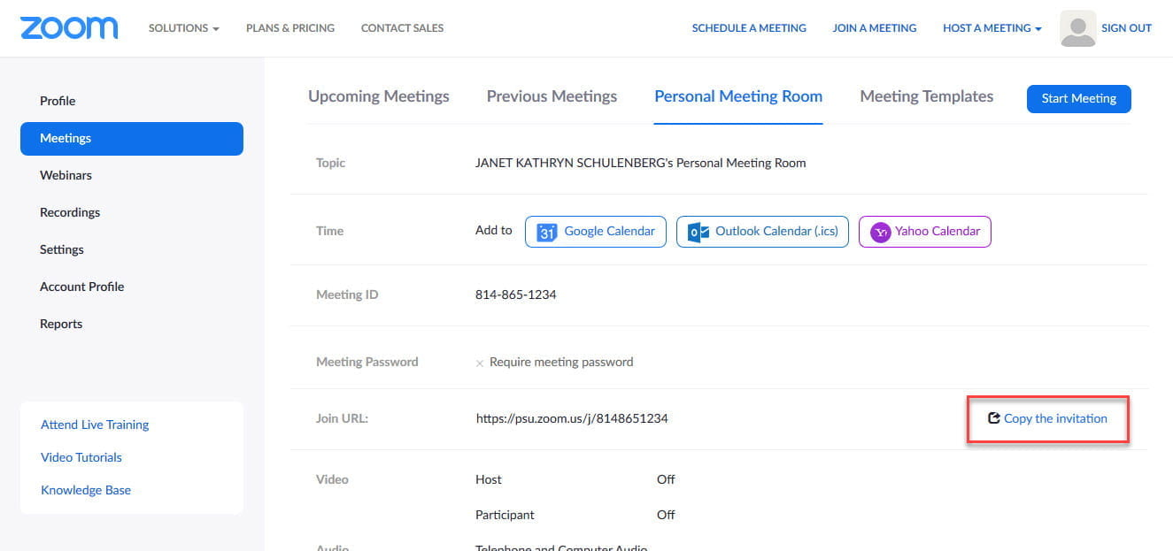 "Screenshot of the Zoom ""Personal Meeting Room"" screen"