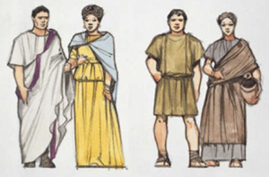 Roman Patrician Couple (Left) and Plebeian Couple (Right)